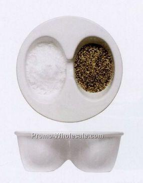 Stoneware Dual Snack Bowl