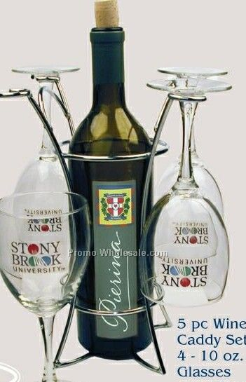 Wine Caddy Set Of 4- 10 Oz. Glasses