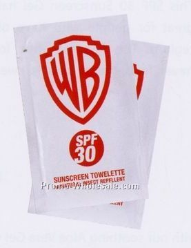 .4 Oz. Sunscreen Towelette W/ Natural Insect Repellent (Direct Printing)