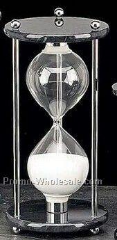 "10"" Chrome & Black Marble 60 Minutes Sand Timer"