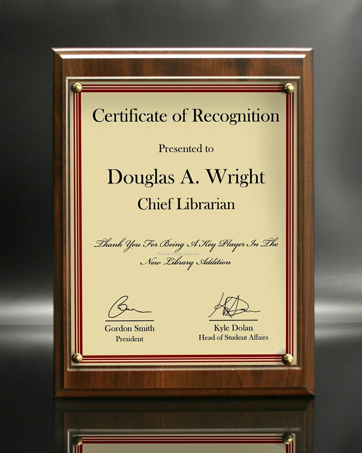 "10-1/2""x13"" Certificate On Simulate Cherry Panel With Acrylic Cover"