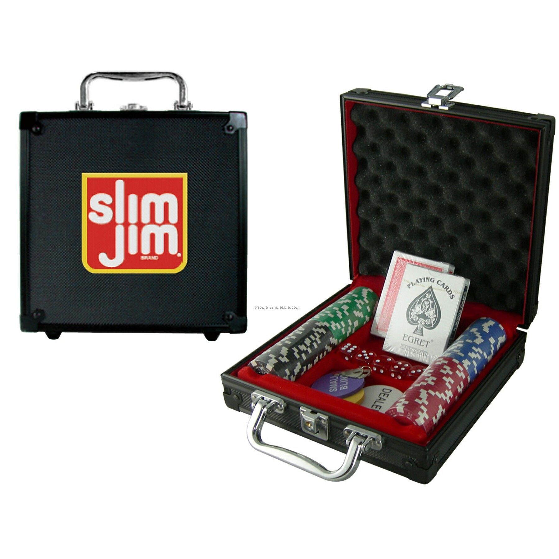 100 Piece Poker Chip Set With Black Case - 1 Side Chip Imprint
