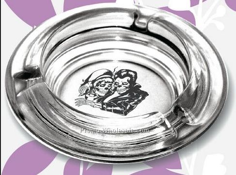 "4-1/4"" Round Glass Ashtray"