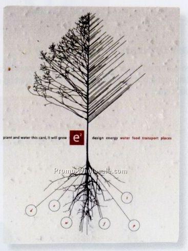 """5""""x7"""" Printed Seed Paper Postcard W/ Skier"""