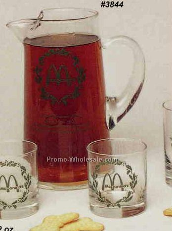 64 Oz. Clear Glass Baja Pitcher W/ 4 Rocks Glasses