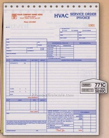 "x11"" 3 Part Hvac Service Order/ Invoice W/ Environmental"