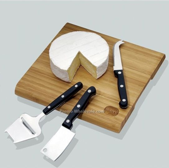 Bamboo Cheese Board W/Japanese Cheese Cutters