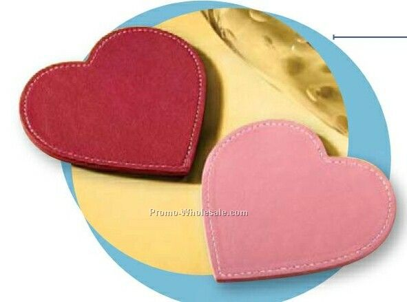 "Florentine Napa Leather Heart Shape Coaster (4""x4-1/8""x1/4"")"