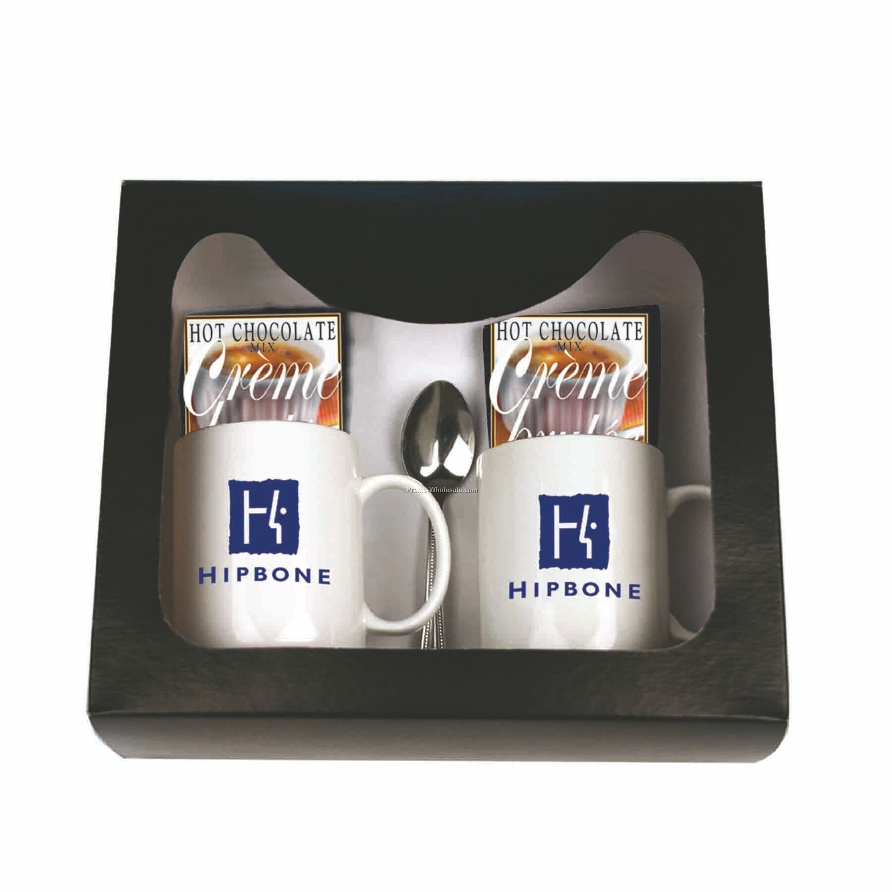 Hot Chocolate For 2 Gourmet Gift Set (Creme Brulee W/ Marshmallows)