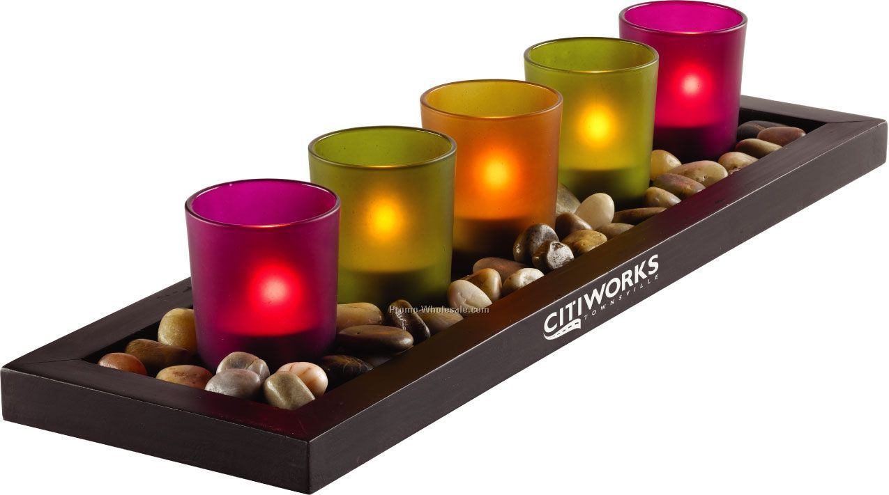Jewel Tone 5 Piece Candle Tray