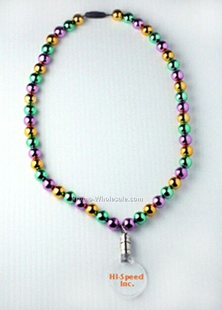 Light Up Pendant Necklace W/ Mardi Gras Beads- No LED