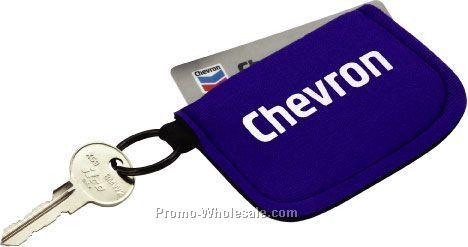 Neoprene Credit Card Holder With Split Ring
