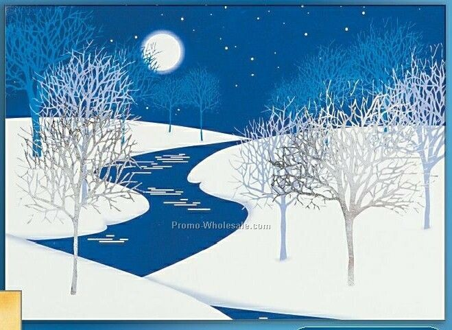 Night Winter Scene Holiday Greeting Card (After 10/1