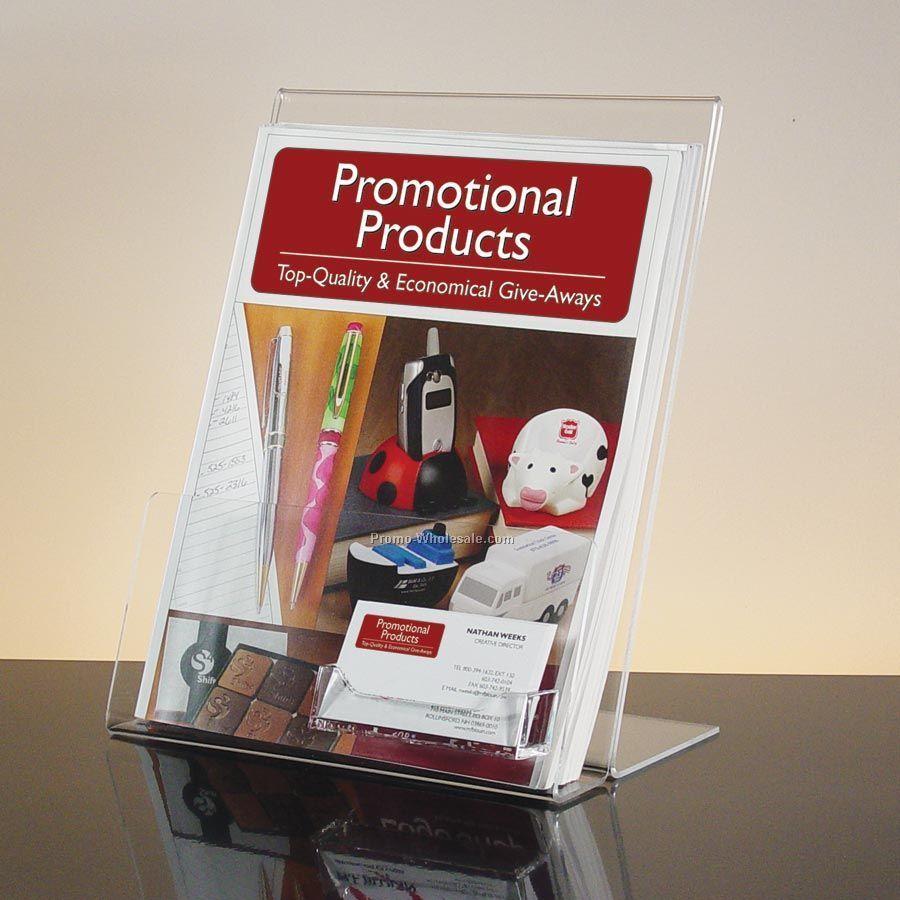 Brochure Holder With Business Card Pocket