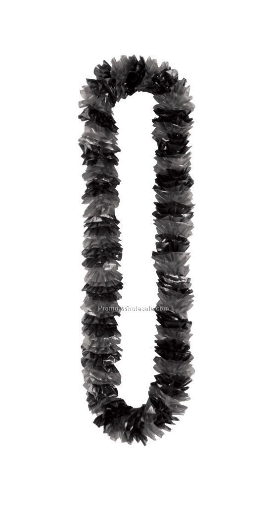 "2""x36"" Soft Twist Black & Silver Poly Leis"