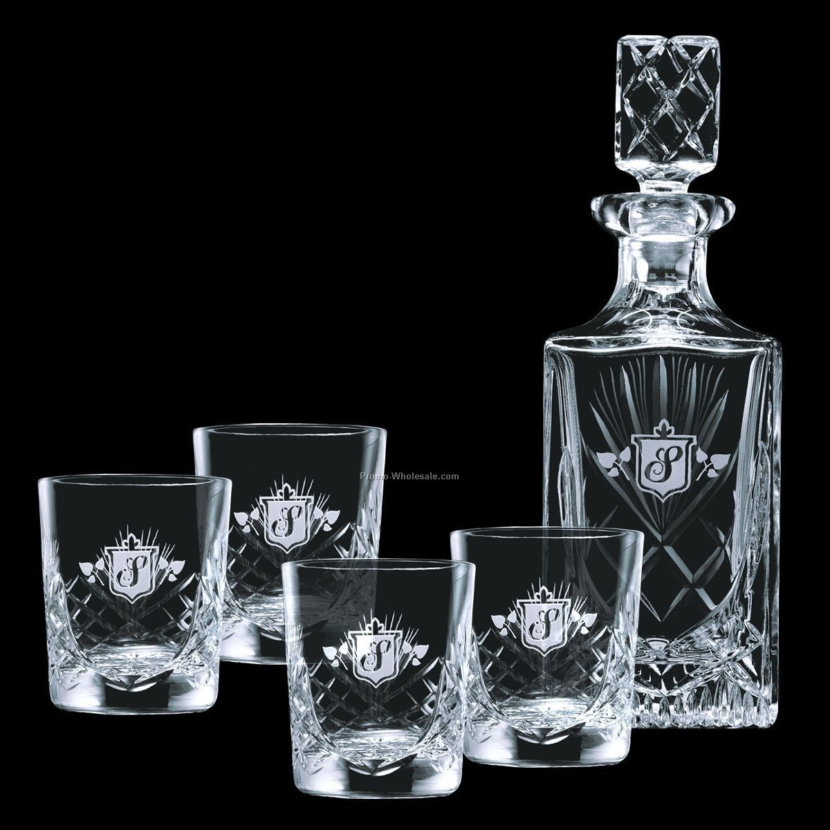 28 Oz. Cavanaugh Crystal Decanter & 4 On-the-rocks Glasses