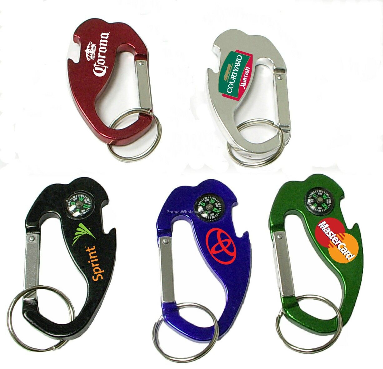 4-in-1 Jumbo Size Carabiner/Bottle Opener/Key Chain/Compass (Large Qty)