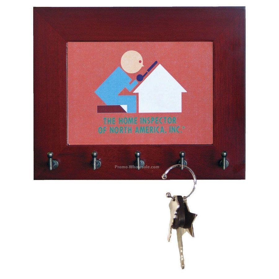 5-hook Wood Wall Key Rack
