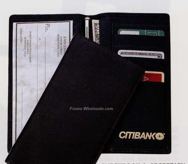 "6-5/8""x3-5/8""x1/2"" Leather Checkbook & Secretary Cover"