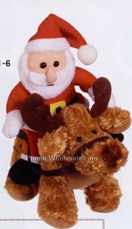 "7"" Santa On Reindeer Doll"