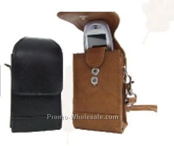 7cmx14cmx4-1/2cm Medium Brown Stone Wash Cowhide Cell Phone/Camera Pouch