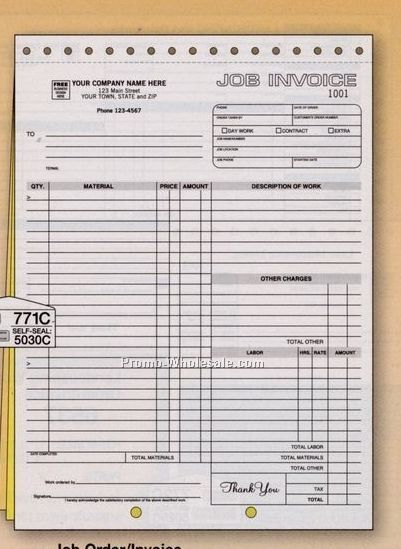 "8-1/2""x11"" 2 Part Carbonless Job Order/ Invoice"