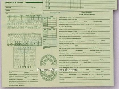 "8-1/2""x11"" Horizontal Dental Exam Record"