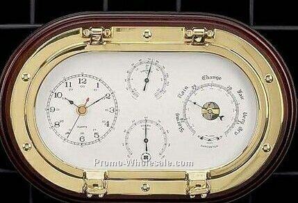 Br Porthole Clock Barometer