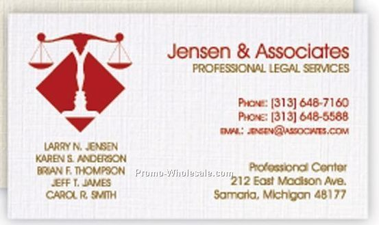 Classic Linen Solar White Business Card W/ 1 Standard Ink