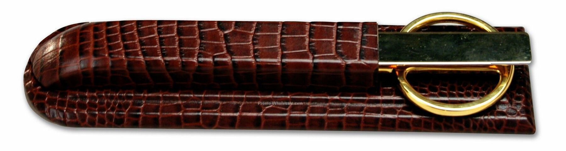 Crocodile Embossed Leather Library Set - Brown