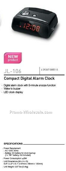 jwin compact digital alarm clock wholesale china. Black Bedroom Furniture Sets. Home Design Ideas