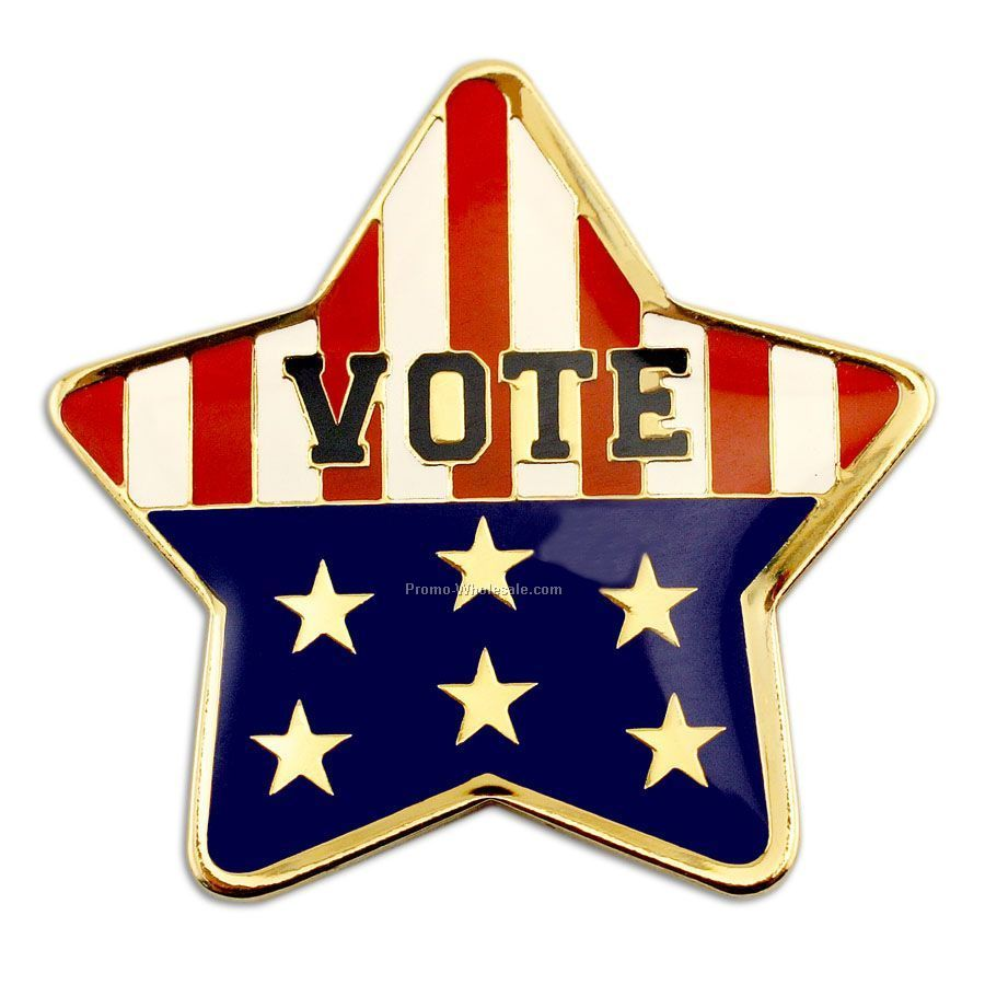 Stock Lapel Pin / Etched Soft Enamel - Vote / Star