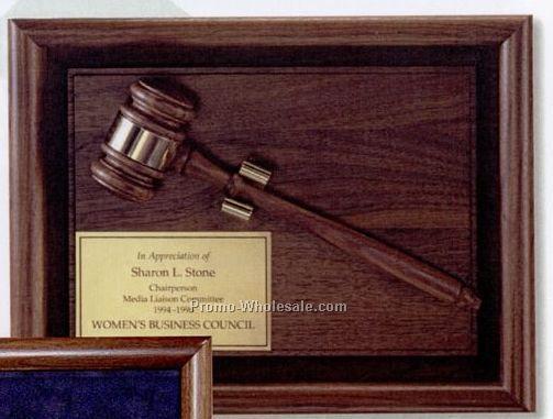 """Walnut Shadow Box Award W/ Walnut Gavel (10""""x13"""")"""
