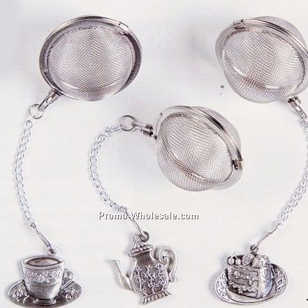 12 Pc. Tea Ball Infuser Tea Party Set W/ Pewter Charms & Display Rack