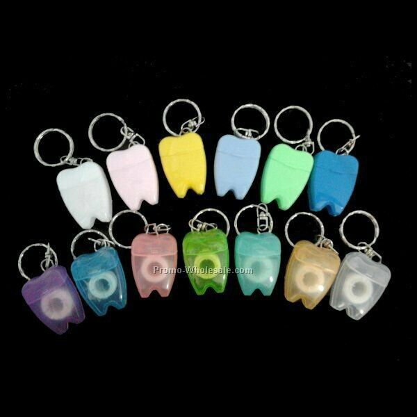 Dental Floss Tooth Keychain, Tooth Shaped Dental Floss