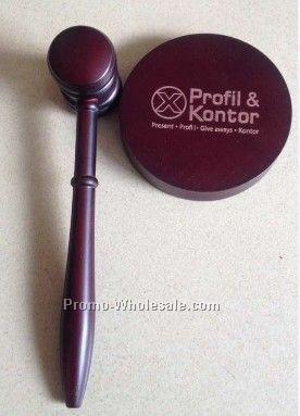 Ponderosa Pine Decorator Novelty Gavel W/ Brass Engraving Band