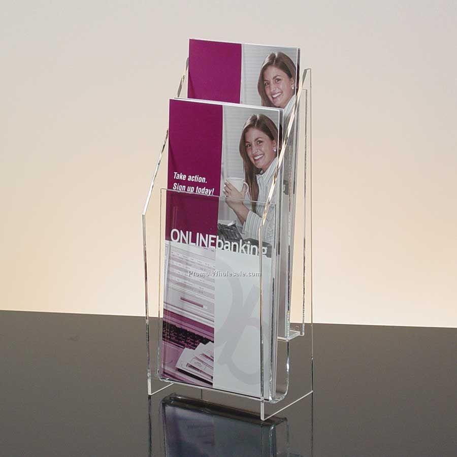 2-pocket Clear Acrylic Brochure Holder - Countertop