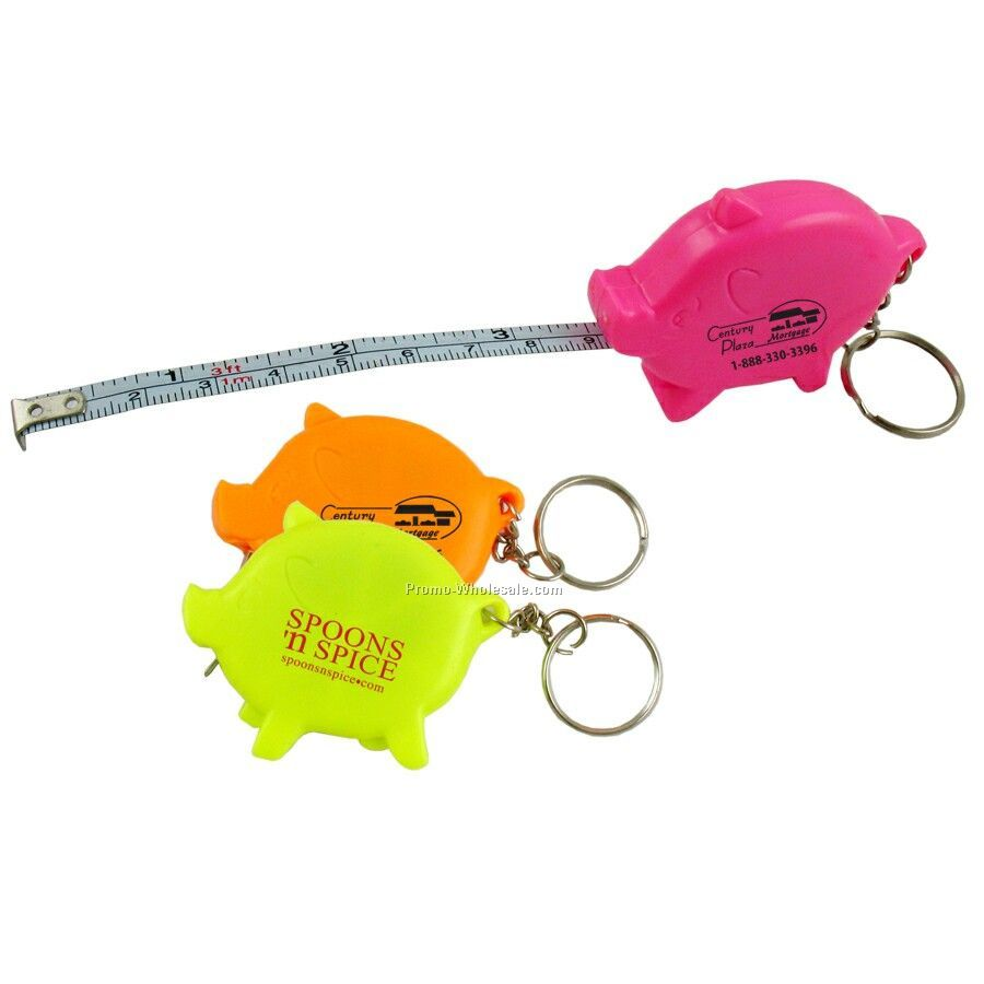 3` Pig Tape Measure W/Key Chain