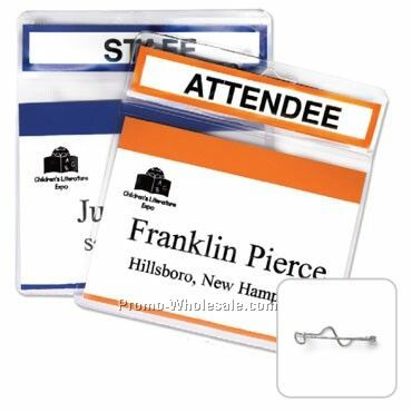 """4""""x3"""" Double Pouch Vinyl Nametag Holder W/ Pin Attachment"""