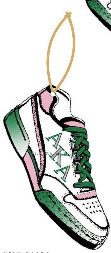 Alpha Kappa Alpha Sorority Shoe Ornament W/ Mirrored Back (12 Sq. Inch)