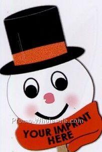 Holiday Fun Snowman On Stick Fan W/Top Hat