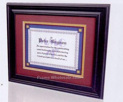 Mdf Certificate Frame W/ Matte Black Wrap & No Matboard