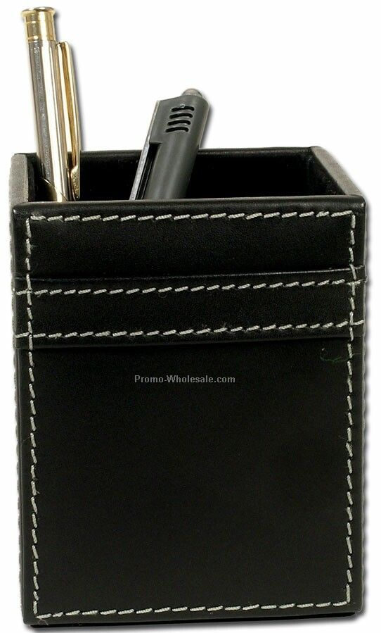 Rustic Leather Pencil Cup Holder - Black