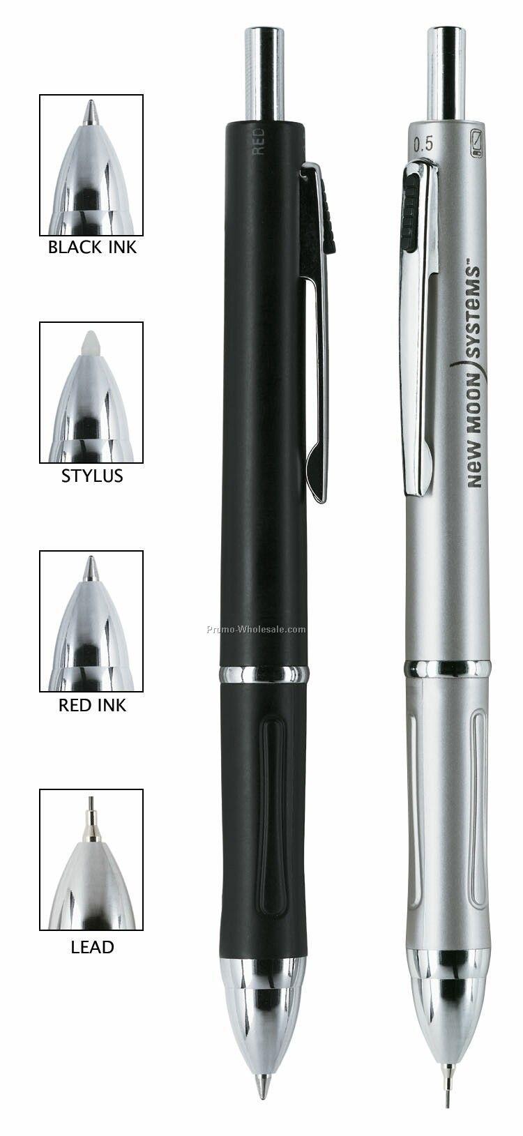 Silver 4-in-1 Creighton Ballpoint Pen/ Pencil/ Stylus