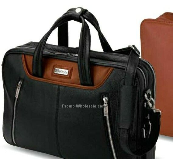 "Siracusa Panarcci & Korean Throw Leather Briefcase 16""x12""x4"""