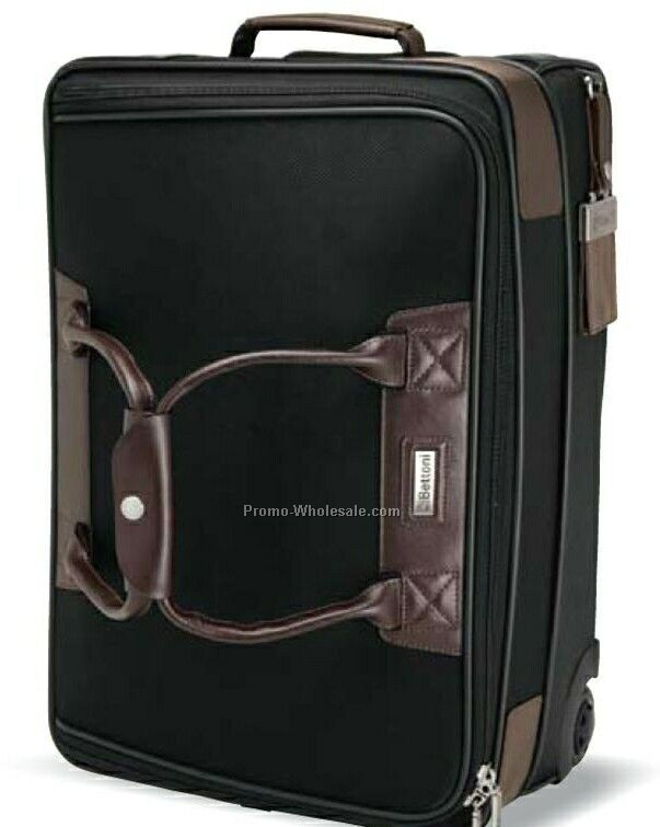 "Terni Brown Leather Black Twill Nylon Trolley Bag 20""x14""x8-1/2"""