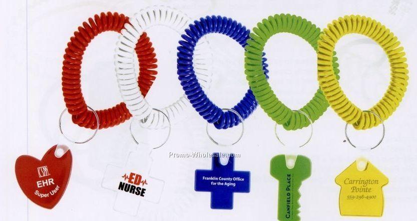 Wrist Coil Key Ring W/ Shaped Key Tag (Standard 7 Day Service)