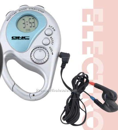 """4""""x4-1/4"""" Clip On Silver Radio W/Stop Watch/Alarm/Time & Day Display"""