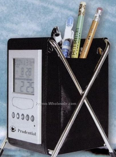 "7""x6""x1-1/2"" Flexible Pen Holder/ Multi-function Clock"