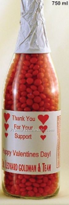 750 Ml Clear Glass Champagne Bottle Filled With Red Hots